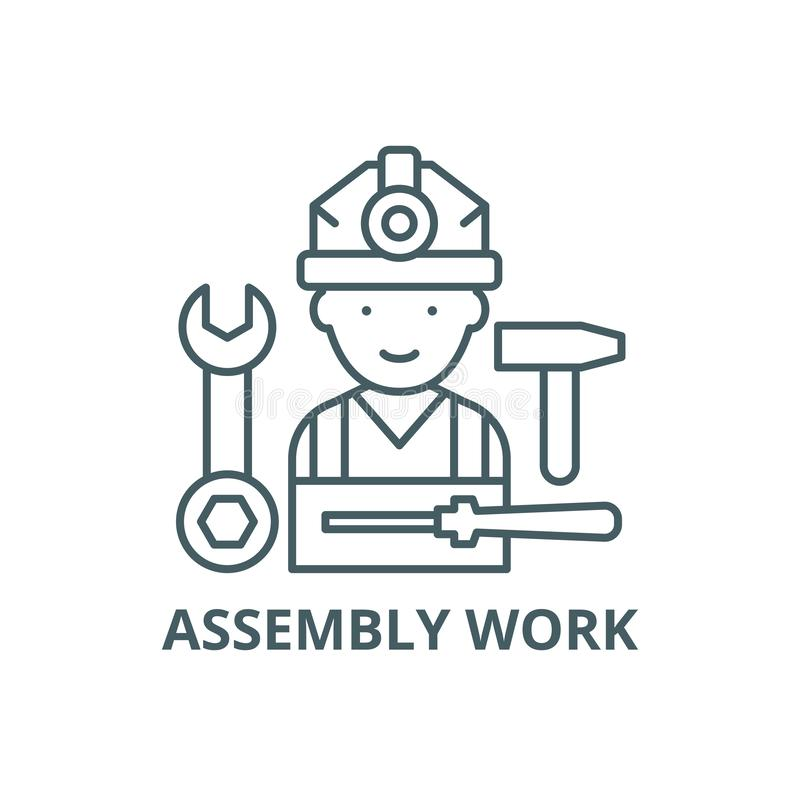 装配工作线象,传染媒介 装配工作概述标志,概念标志,平的例证 向量例证