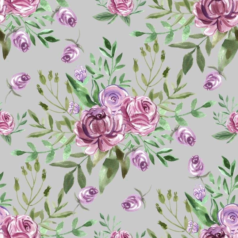 装饰与花的水彩无缝的样式 库存例证