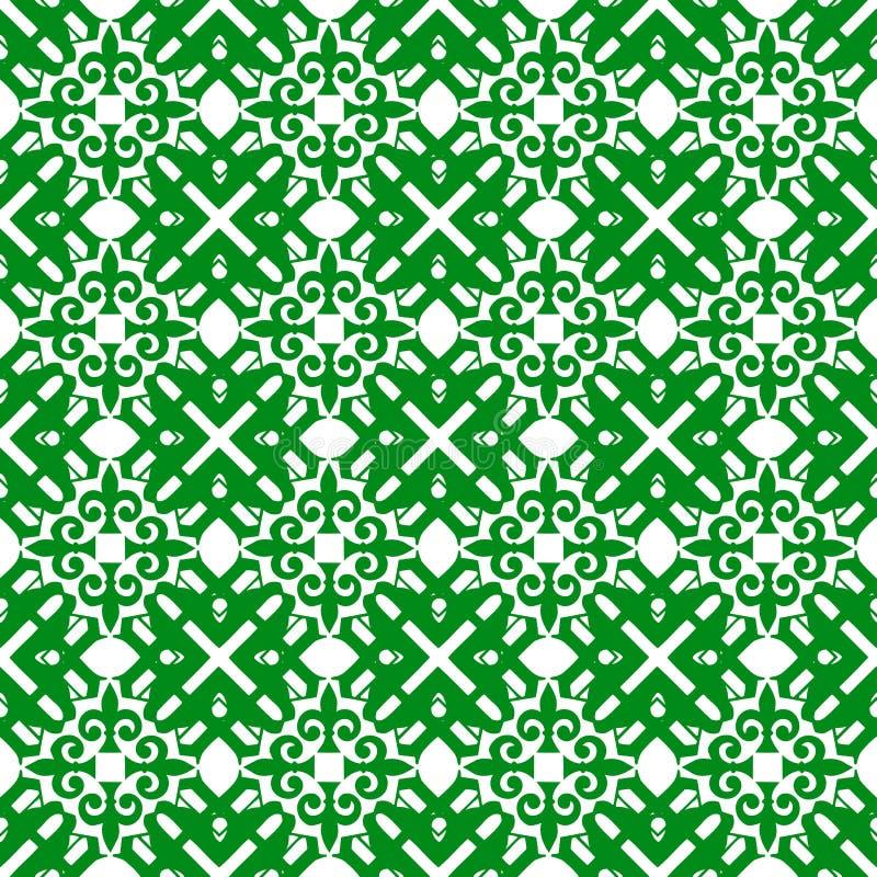 装饰东方绿色花卉美好的皇家葡萄酒春天摘要无缝的样式纹理墙纸 向量例证