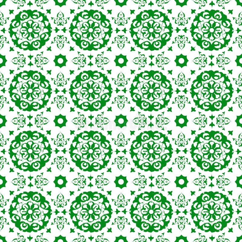 装饰东方绿色花卉美好的皇家葡萄酒春天摘要无缝的样式纹理墙纸 皇族释放例证