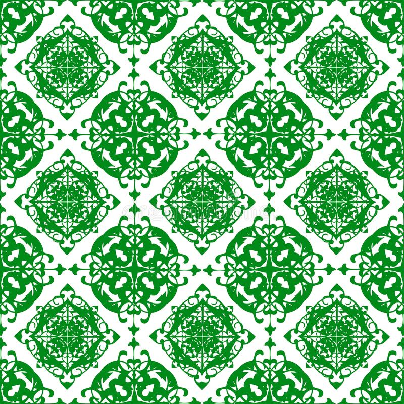 装饰东方美好的绿色皇家花卉葡萄酒春天摘要无缝的样式纹理墙纸 向量例证