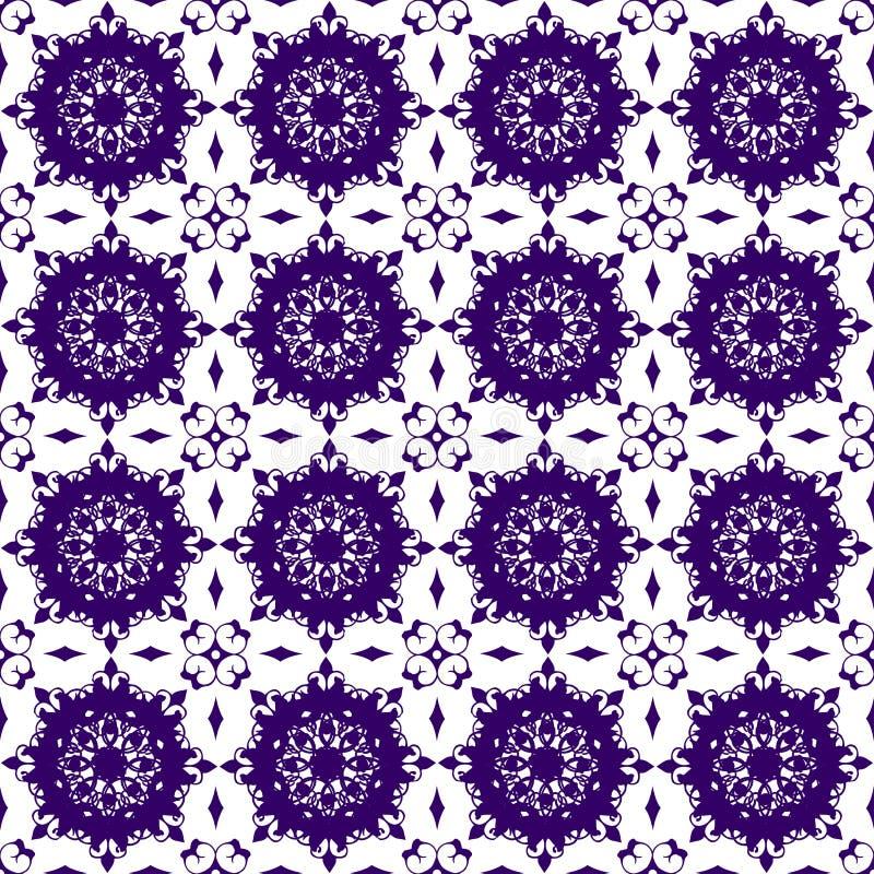装饰东方蓝色紫色紫罗兰色花卉美好的皇家葡萄酒春天摘要无缝的样式纹理墙纸 向量例证