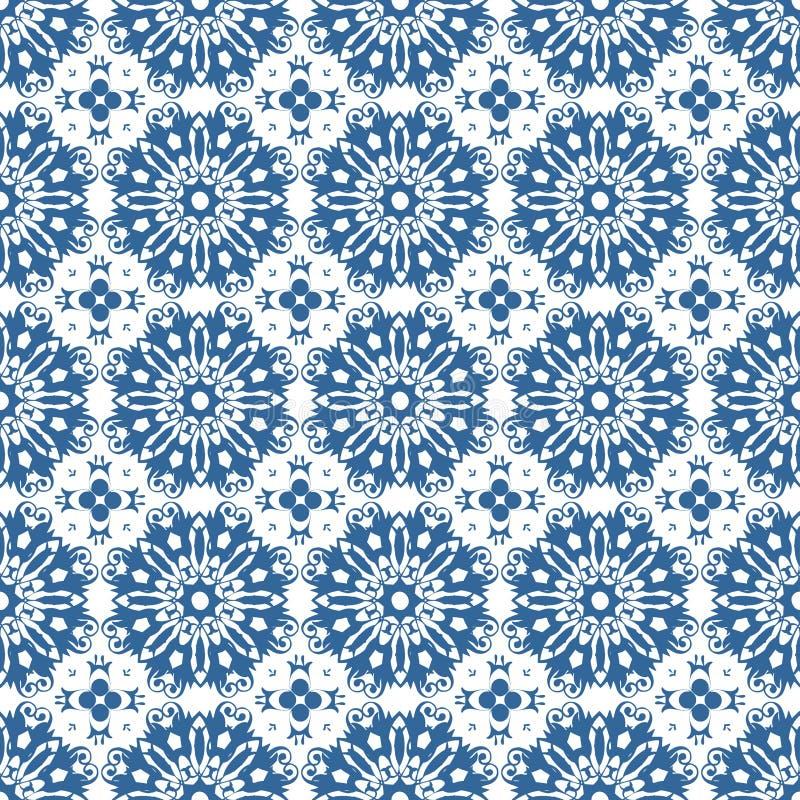 装饰东方蓝色花卉美好的皇家葡萄酒春天摘要无缝的样式纹理墙纸 向量例证