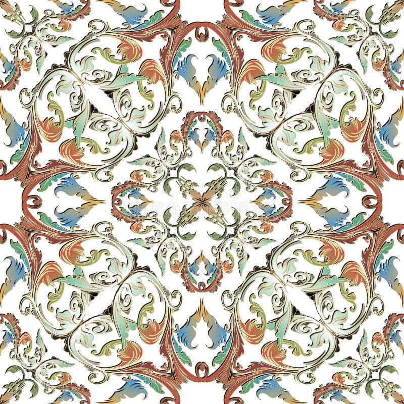 装饰五颜六色的巴洛克式的在白色背景的传染媒介无缝的样式 葡萄酒花,叶子,纸卷 重复锦缎背景 向量例证