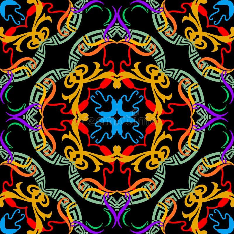 装饰五颜六色的希腊传染媒介无缝的样式 E 摘要花卉种族样式背景 r 向量例证