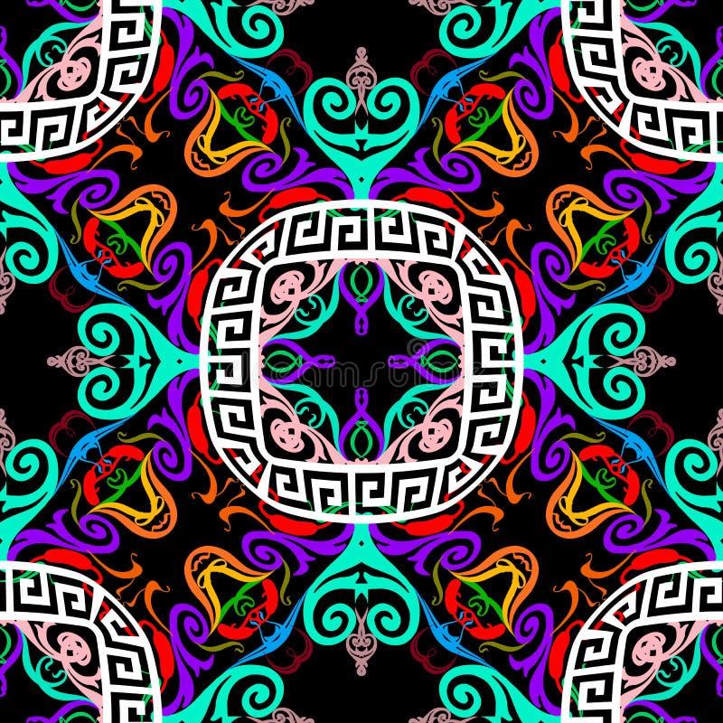 装饰五颜六色的希腊传染媒介无缝的样式 E 摘要花卉种族样式背景 r 皇族释放例证