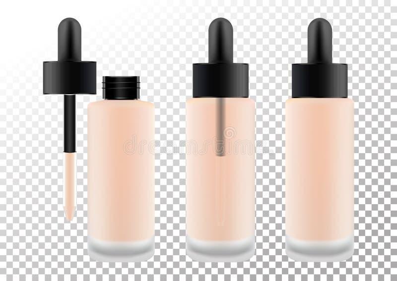 装饰产品的现实透明玻璃表面无光泽的化妆瓶,基础,化妆水,奶油 黑盒盖与 皇族释放例证
