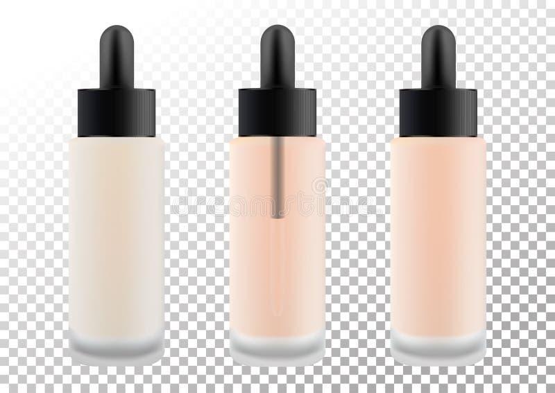 装饰产品的现实透明玻璃表面无光泽的化妆瓶,基础,化妆水,奶油 黑盒盖与 库存例证