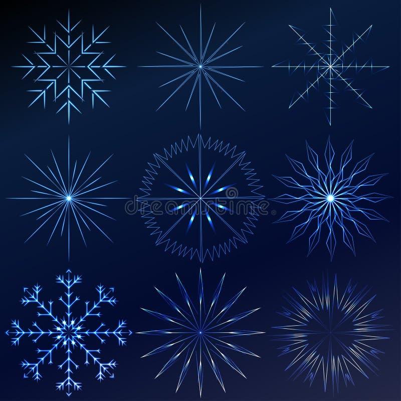 装饰传染媒介水晶雪花设置了-冬天系列夹子艺术 向量例证