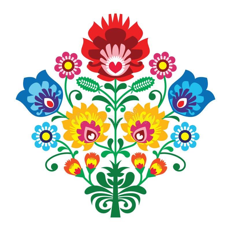 与花的民间刺绣-传统波兰样式 向量例证