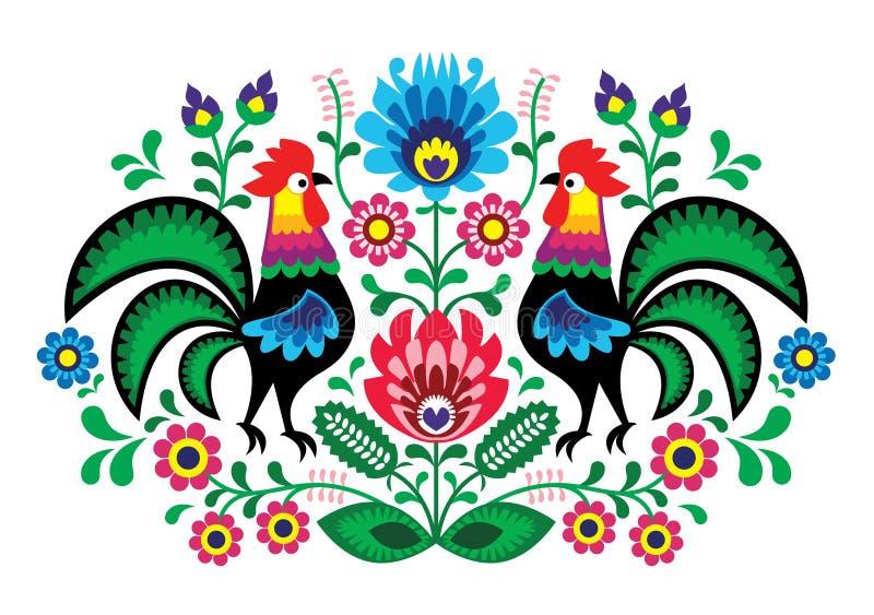 与公鸡的波兰花卉刺绣-传统民间样式 向量例证