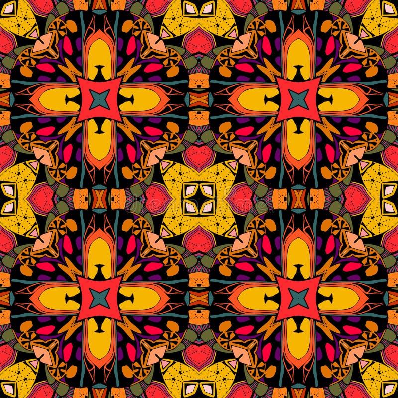 装饰例证模式无缝的向量 明亮的种族装饰品 多色几何花 部族传染媒介例证 库存例证