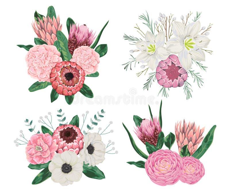 装饰假日花束设置了与花、叶子和分支 库存例证