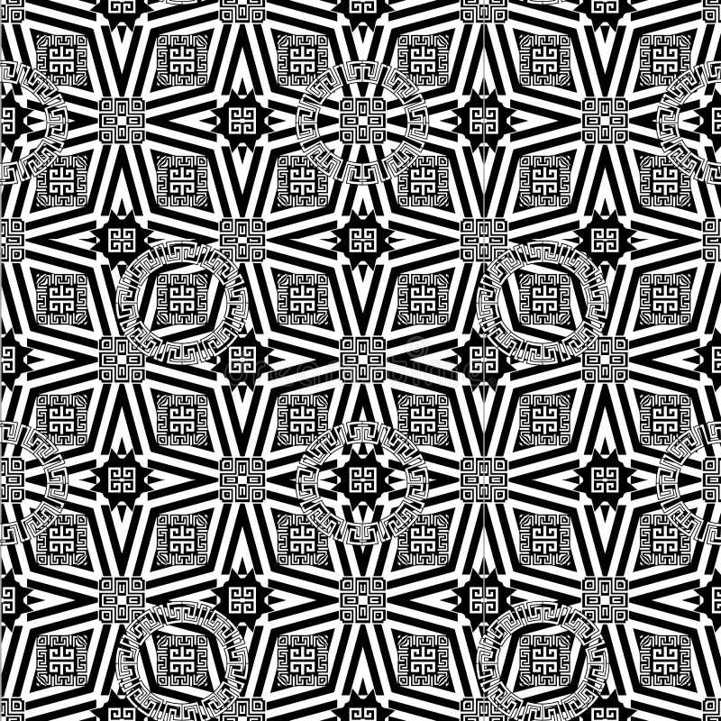 装饰几何希腊传染媒介无缝的样式 抽象bla 皇族释放例证