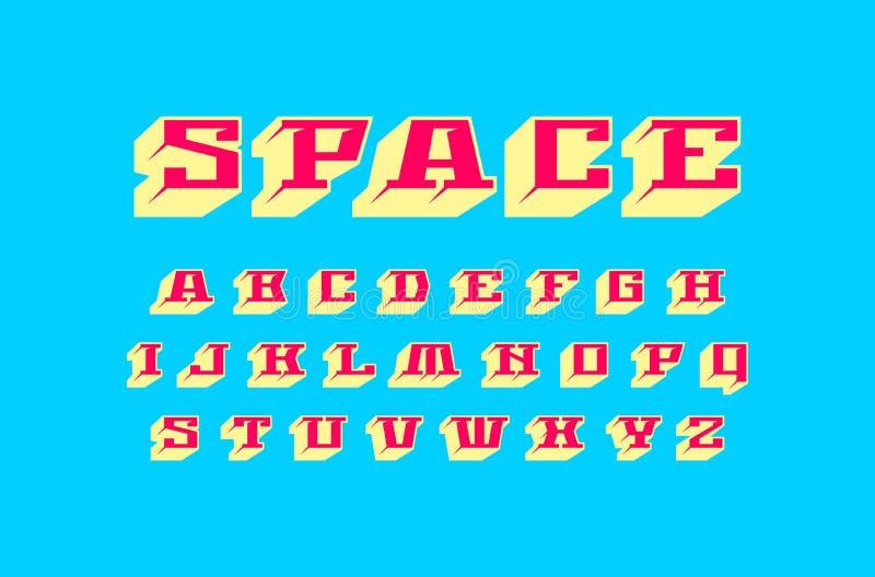 装饰几何平板细体大块字体 皇族释放例证