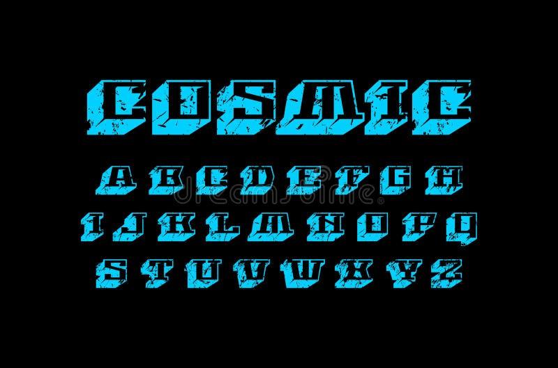 装饰几何平板细体大块字体 库存例证