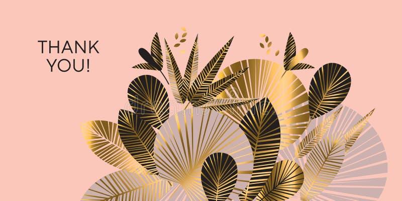 装饰几何金子和玫瑰色热带样式 库存例证