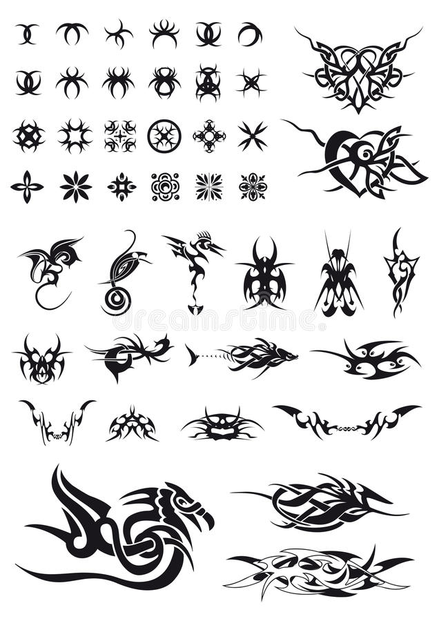 装饰几何集刺字tribals 向量例证