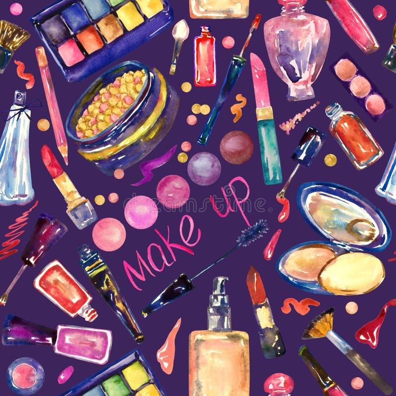 装饰化妆用品,组成在明亮的颜色的材料汇集,手画水彩例证,无缝的样式 皇族释放例证