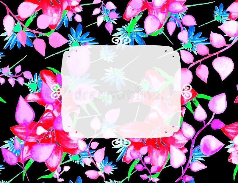 装饰华丽花卉框架 库存例证