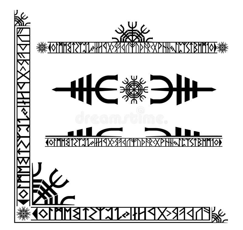 装饰古代北欧文字的北欧海盗 向量例证
