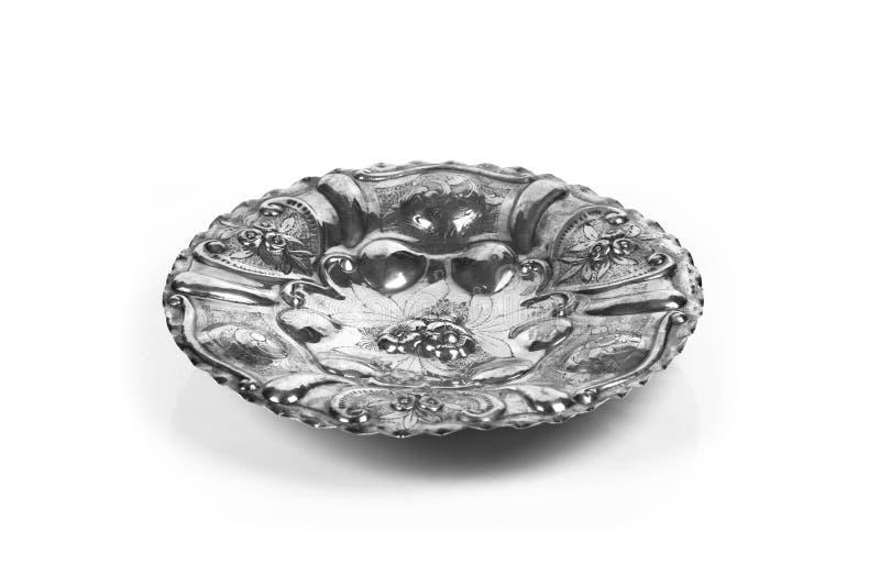 装饰古色古香的银盘 免版税库存照片