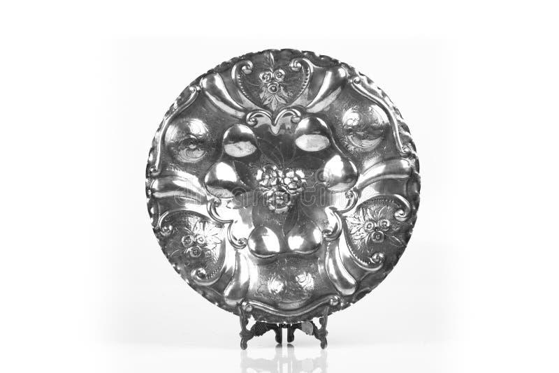 装饰古色古香的银盘 图库摄影