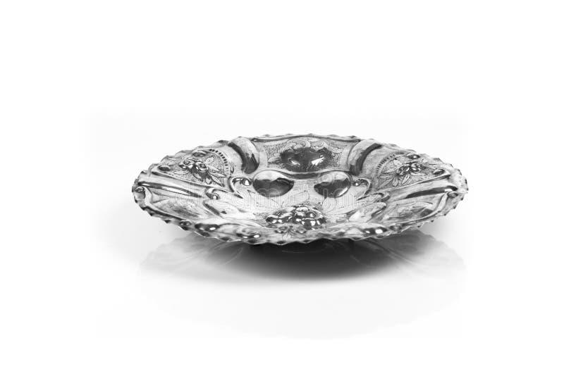 装饰古色古香的银盘 库存图片