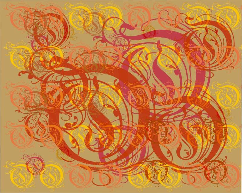 装饰品元素葡萄酒金花卉背景 库存照片