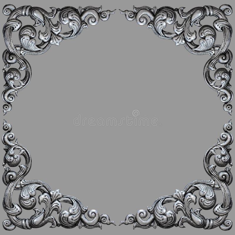 装饰品元素框架,葡萄酒银色花卉 图库摄影