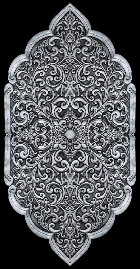 装饰品元素,葡萄酒银色花卉设计 免版税库存照片