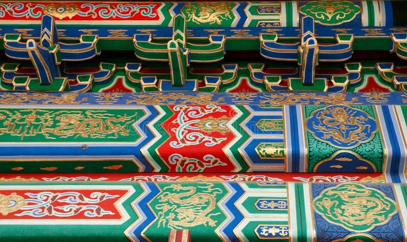 装饰品的细节在紫禁城的大厦的墙壁上的 北京 库存照片