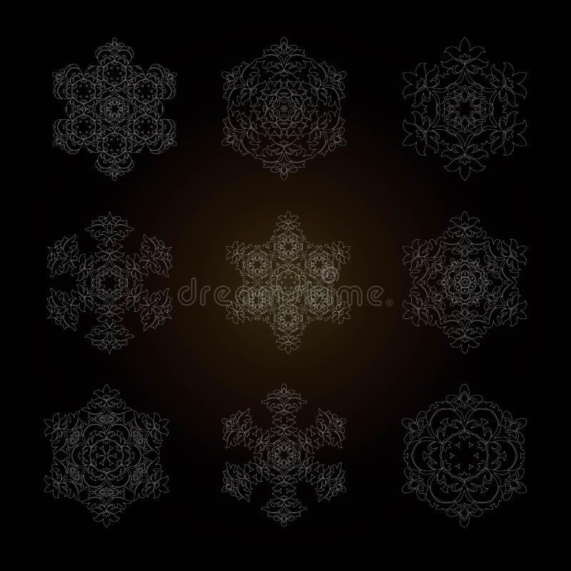装饰品的集合被隔绝的概述以坛场的形式 葡萄酒坛场,在花卉样式的元素 向量例证