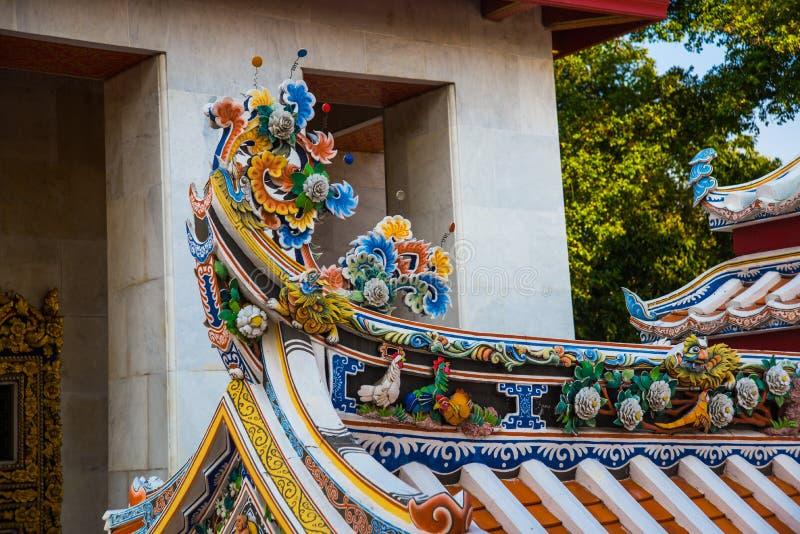 装饰品,装饰的片段,佛教寺庙,越南 曼谷 免版税图库摄影