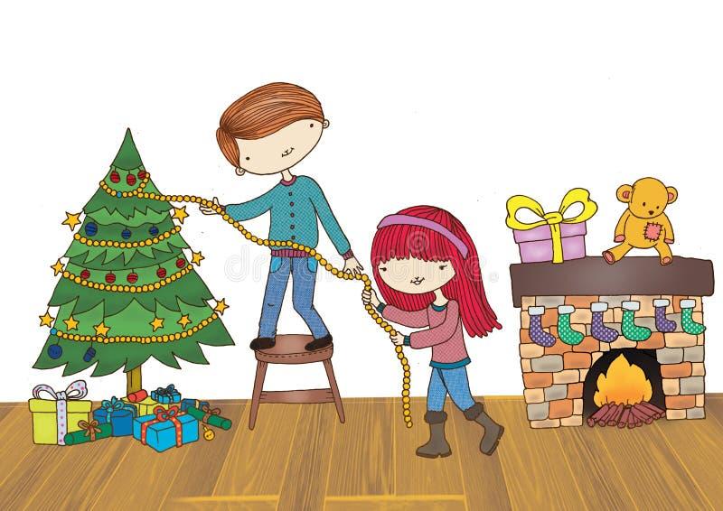 装饰圣诞树的男孩和女孩 免版税库存照片