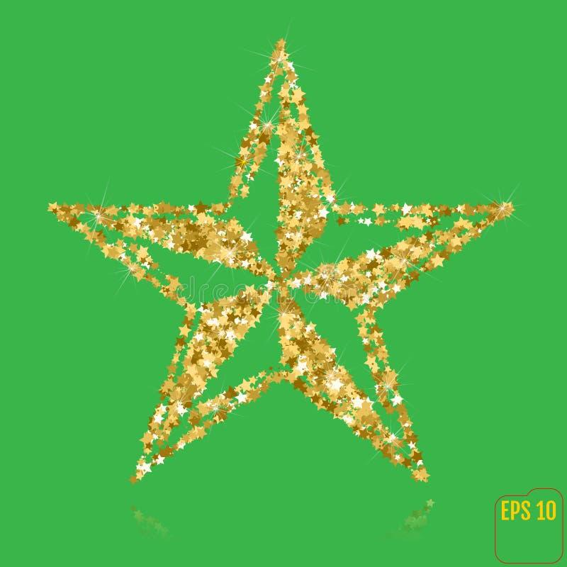 装饰圣诞节欢乐金黄五针对性的光亮的星 d 皇族释放例证