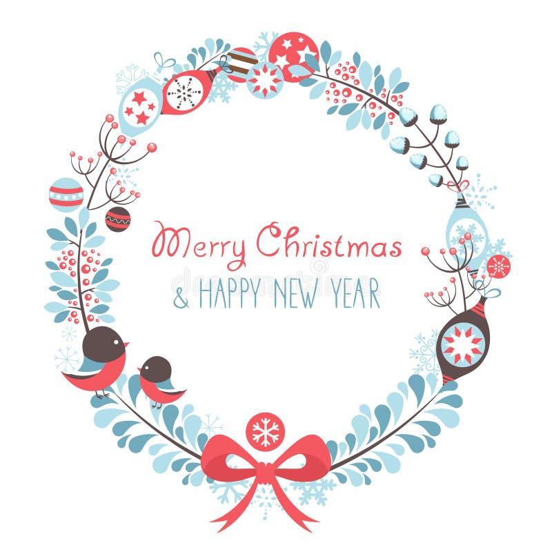 装饰圣诞节花圈庆祝明信片 库存例证