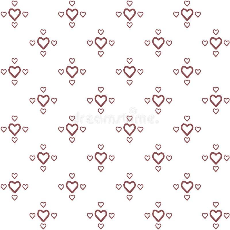 装饰在最低纲领派样式的手画的心脏的传染媒介无缝的样式 皇族释放例证