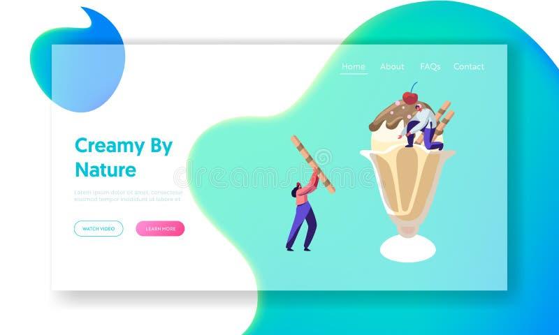 装饰在杯的微小的字符巨大的冰淇淋用曲奇饼和莓果网站登陆的页,夏时食物,可口 库存例证