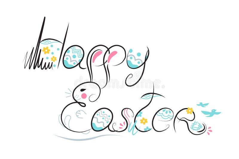 装饰在白色背景的复活节构成手拉的黑字体 从兔宝宝,鸡蛋,花,叶子的滑稽的乱画 向量 库存例证
