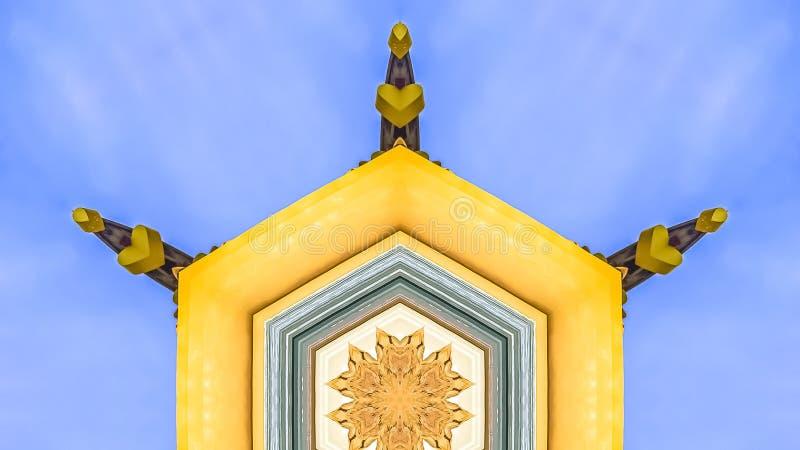 装饰大厦的全景框架黄色门面在边的 向量例证
