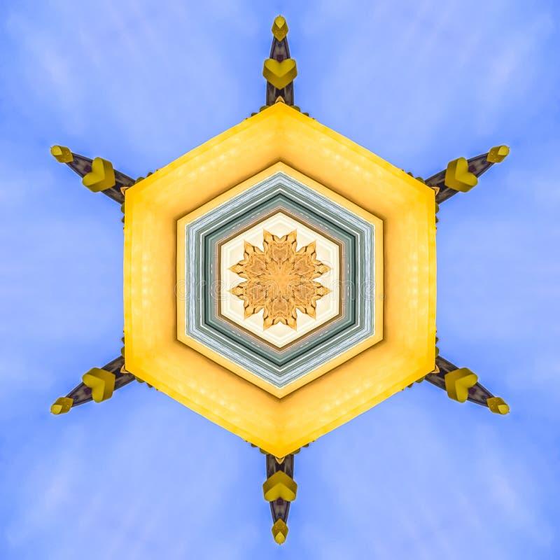 装饰大厦的黄色门面在边的 库存例证