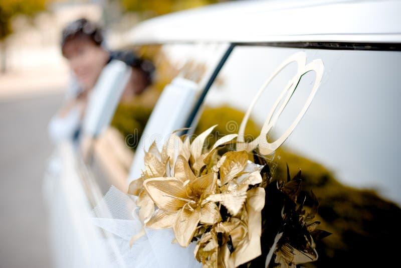 装饰大型高级轿车婚礼 免版税库存照片