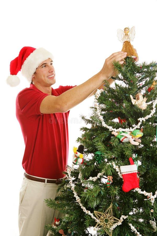 装饰天使的圣诞节安置结构树 免版税库存图片