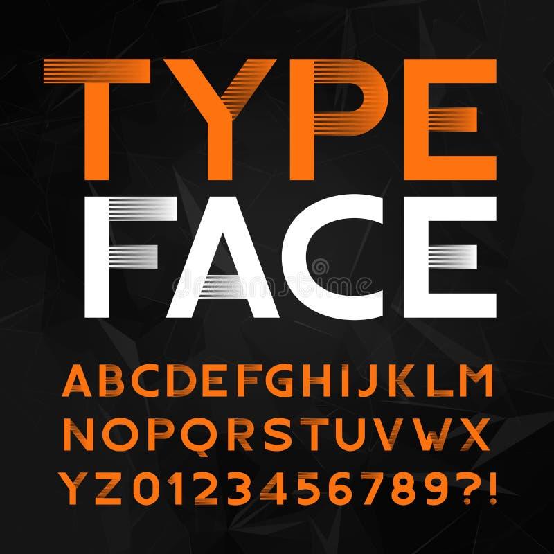 装饰字母表字体 键入信件和数字在多角形背景 皇族释放例证