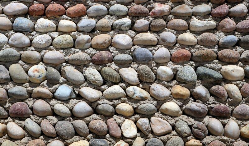 装饰小卵石围住,做用不同的颜色的许多小岩石在水泥背景 图库摄影