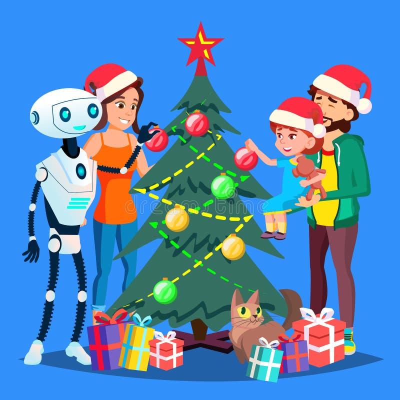 装饰幸福家庭传染媒介的圣诞树的机器人帮助 按钮查出的现有量例证推进s启动妇女 库存例证