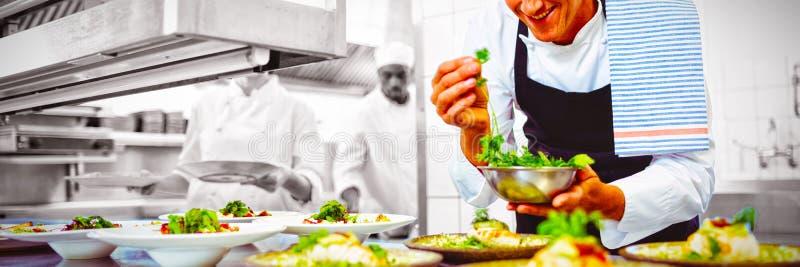 装饰开胃菜板材的愉快的厨师在命令驻地 免版税图库摄影