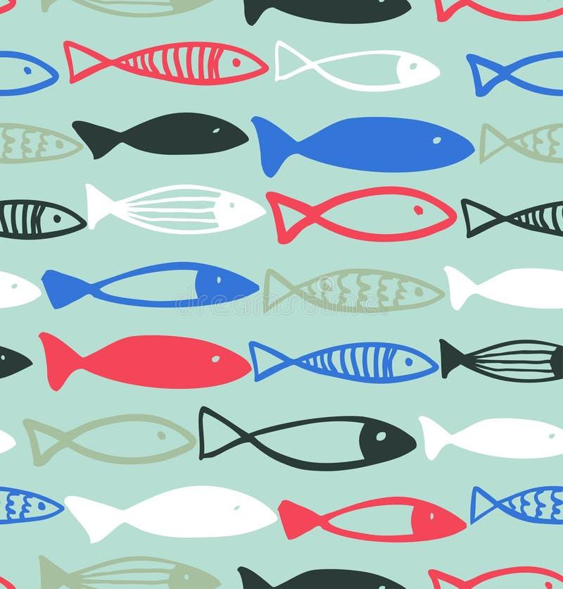 装饰得出的样式有滑稽的鱼无缝的海洋背景 向量例证