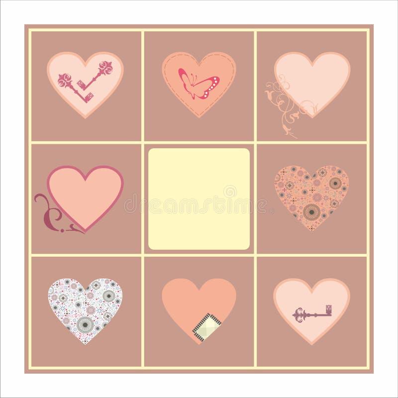 装饰心脏集合卡片样式 库存例证